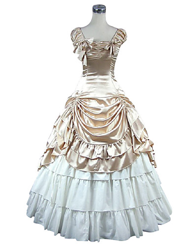Sød Lolita Klassisk og Traditionel Lolita Middelalderkostumer Victoriansk Satin Dame Pige Kjoler Cosplay Gylden Uden ærmer Gulvlang