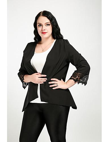 abordables Manteaux & Vestes Femme-Blazer Grandes Tailles Femme - Couleur Pleine Chic de Rue Col de Chemise Coton Dentelle