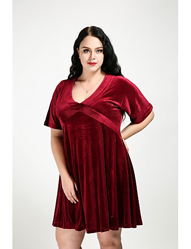 Cute Ann Women's Plus Size Street chic Velvet A Line Dress - Solid Colored V Neck