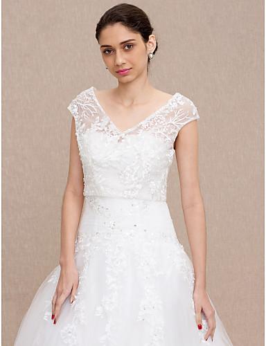 ราคาถูก ผ้าคลุมสำหรับชุดแต่งงาน-ลูกไม้ งานแต่งงาน / งานปาร์ตี้ / งานราตรี Women's Wrap กับ กระดุม / ลูกไม้ เสื้อกั๊ก
