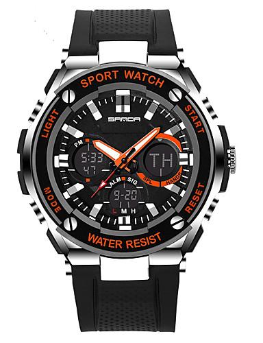 Férfi Női Sportos óra Katonai óra Intelligens Watch Digitális 30 m Vízálló Riasztás - Ébresztős Naptár Szilikon Zenekar Analóg - Digitális Amulett Luxus Alkalmi Fekete - Narancssárga Piros Kék / LCD