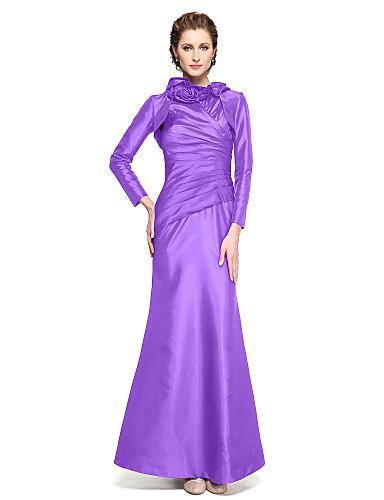 voordelige Wrap Dresses-Trompet / zeemeermin Hoge nek Tot de enkel Taffeta Bruidsmoederjurken met Bloem / Plooien door LAN TING BRIDE®