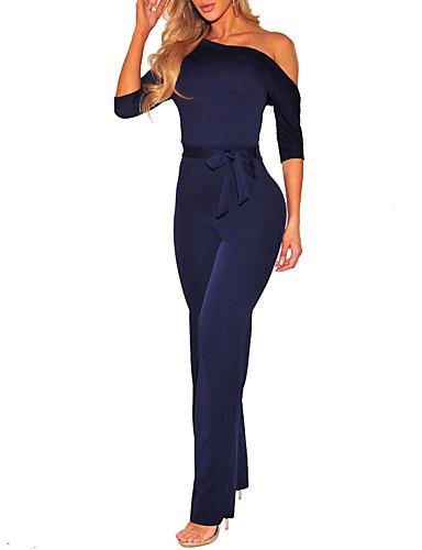 db45ce6242d2 Women s Plus Size Daily   Club One Shoulder Black Red Navy Blue Wide Leg  Jumpsuit