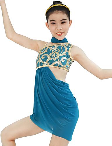 preiswerte Ballettbekleidung-Ballett Austattungen Damen Leistung Elasthan / Lycra Rüschen / Pailetten Ärmellos Hoch Kleid / Unterhose / Kopfbedeckung