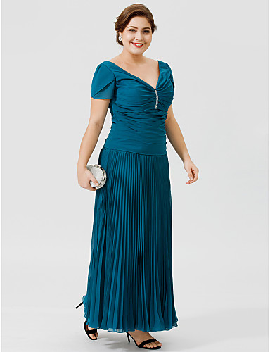 A-Line V Neck Ankle Length Chiffon Mother of the Bride Dress with Beading Pleats by LAN TING BRIDE®