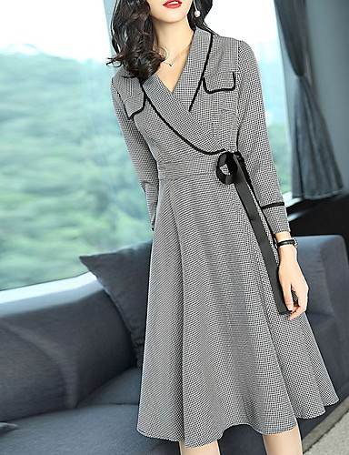 Women's Going out Street chic Sheath Dress - Houndstooth