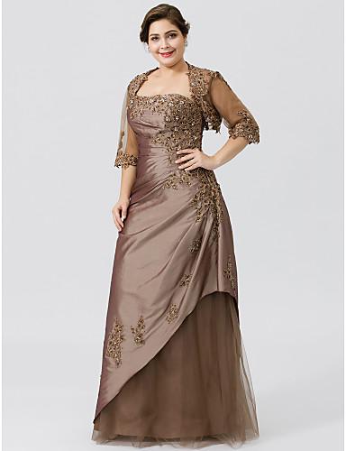 voordelige Wrap Dresses-A-lijn Strapless Tot de grond Taffeta / Tule / Beaded Lace Bruidsmoederjurken met Kralen / Appliqués / Plooien door LAN TING BRIDE® / Wrap inbegrepen