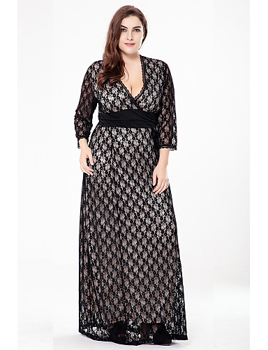 6de3791cdec8 Women's Lace Plus Size Party Daily Sophisticated Maxi A Line Lace Swing  Dress - Solid Colored Jacquard Black, Lace Cut Out V Neck Fall Black Beige  XXXXL ...
