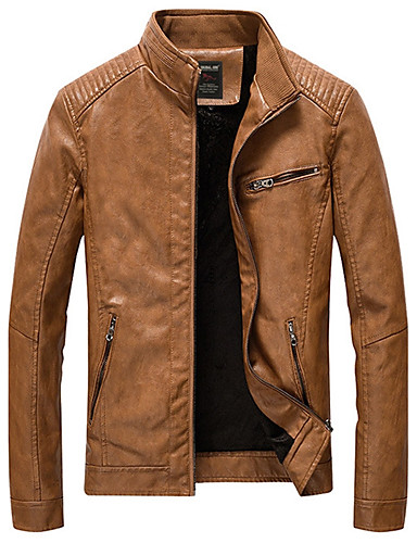 cheap Leather Jackets-Men's Daily / Weekend Fall / Winter Plus Size Regular Jacket, Solid Colored Stand Long Sleeve PU Camel / Navy Blue / Army Green XXXL / 4XL / XXXXXL
