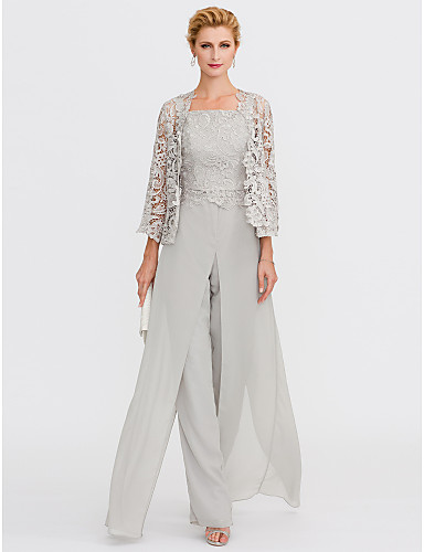 Pantsuit Straps Floor Length Chiffon Corded Lace Mother of the Bride ...