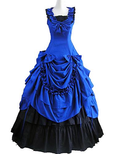 Viktoriaaninen Keskiaika Asu Naisten Mekot Juhla-asu Naamiaisasu Sininen Vintage Cosplay Puuvilla Hihaton Nilkkapituinen Pitkä Pituus Tanssiaismekko Pluskoko Räätälöidyt