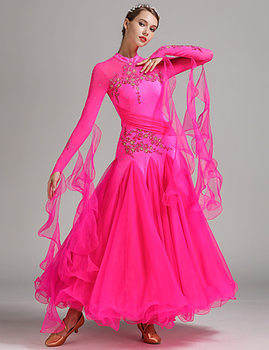 cheap Ballroom Dancewear-Ballroom Dance Dresses Women's Performance Spandex Tulle Milk Fiber Appliques Crystals / Rhinestones Long Sleeves Natural Dress