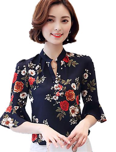hesapli Bluz-Kadın's V Yaka Bluz Desen, Çiçekli Boho Çalışma Büyük Bedenler Beyaz / Yaz