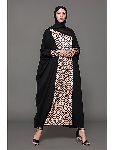 b7cdcbe110d5 Γυναικεία Αργίες Βαμβάκι Αμπάγια Φόρεμα Στάμπα Μακρύ