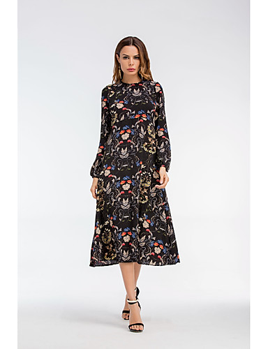 Women's Going out Loose Shift Dress - Jacquard Artistic Style / Summer / Fall