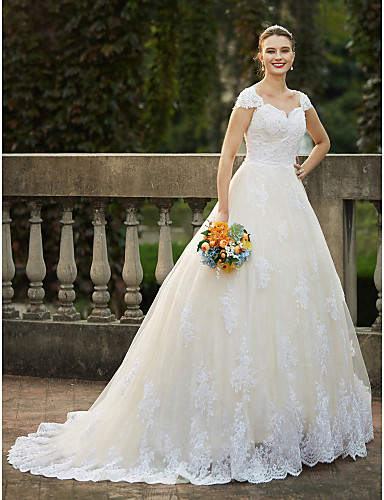 Ball Gown Queen Anne Cathedral Train Lace Over Tulle Made-To-Measure Wedding Dresses with Beading / Appliques by LAN TING BRIDE®