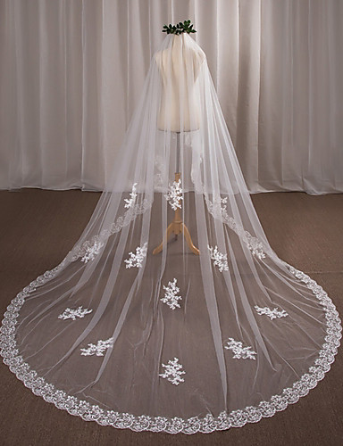 One-tier Wedding Veil Chapel Veils 53 Appliques Lace / Tulle / Angel cut / Waterfall