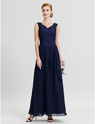 Sheath / Column V Neck Floor Length Chiffon Beaded Lace Mother of the Bride Dress with Beading Pleats by LAN TING BRIDE®