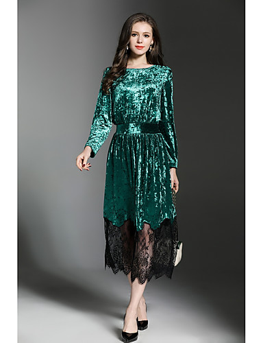 Women's Work Street chic Velvet Sheath / Lace Dress - Patchwork Maxi