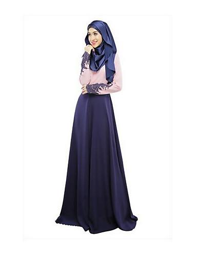 Damen Hülle Kleid-Lässig/Alltäglich Solide Rundhalsausschnitt Maxi Langärmelige Polyester Winter Mittlere Taillenlinie Mikro-elastisch