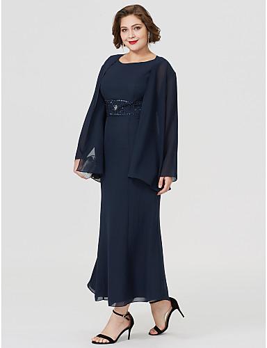 Sellő fazon Ékszer Tea-hossz Sifon Örömanya ruha val vel Gyöngydíszítés által LAN TING BRIDE®