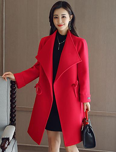 Damen Solide Einfach Ausgehen Lässig/Alltäglich Mantel Winter Langarm Lang Acryl Polyester