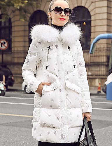 Damen Daunenjacke Mantel,Lang Street Schick Lässig/Alltäglich Druck-Polyester Langarm