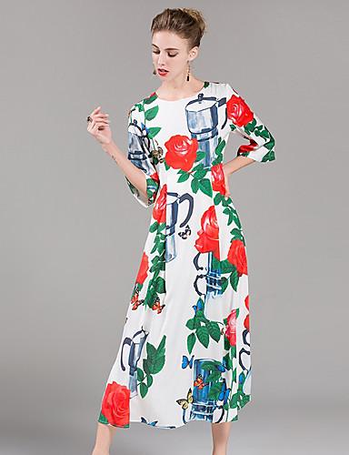 Damen Tunika Kleid Blumen Knielang