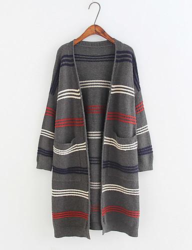 Damen Lang Strickjacke-Ausgehen Lässig/Alltäglich Solide Einfarbig V-Ausschnitt Langarm Baumwolle Andere Dünn Mittel Mikro-elastisch
