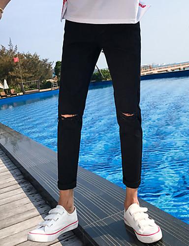 Męskie Podstawowy Szczupła Typu Chino Spodnie Jendolity kolor