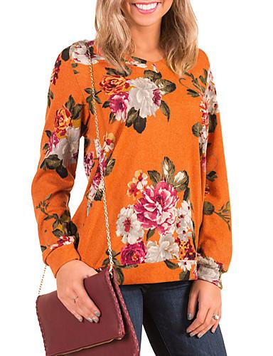 T-shirt Damskie Vintage / Boho, Wycięcia Codzienny / Wyjściowe Kwiaty / Wzory Kwiatów