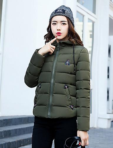 Damen Gefüttert Mantel Freizeit Alltag Ausgehen Solide-Polyester Langarm