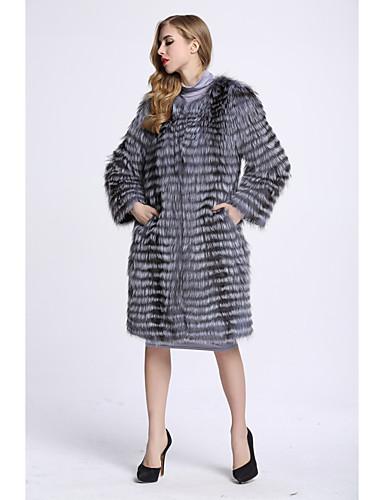 Damen Solide Einfach Ausgehen Pelzmantel Winter Langarm Standard Fuchsfell