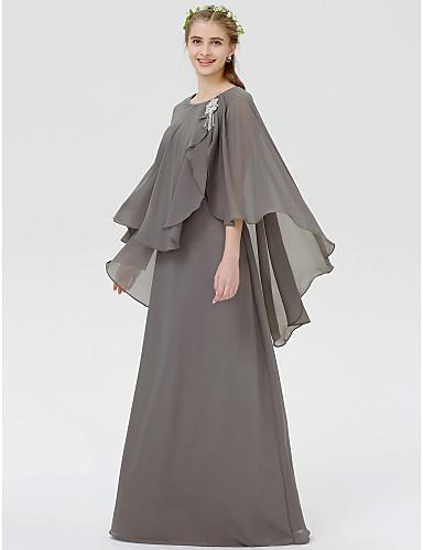 Sheath / Column Jewel Neck Floor Length Chiffon Bridesmaid Dress with Crystals / Pleats by LAN TING BRIDE® / Poet Sleeve / See Through