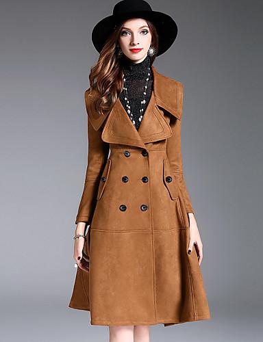 Damen Solide Einfach Freizeit Street Schick Anspruchsvoll Alltag Ausgehen Standard Trench Coat Winter Herbst Polyester