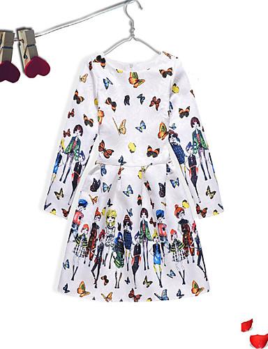 Sukienka Bawełna Poliester Dziewczyny Wydarzenie / impreza Na co dzień Długi rękaw Urocza Na co dzień Kreskówka Księżniczka Niebieski