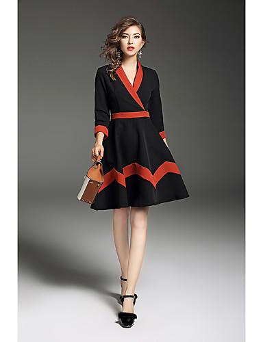 Damen Hülle Swing Kleid Einfarbig V-Ausschnitt