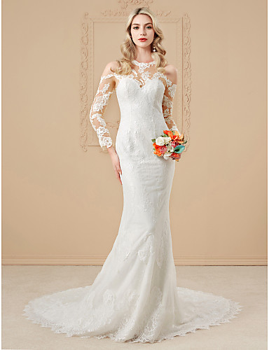Mermaid   Trumpet Jewel Neck Cathedral Train Lace Over Satin  Made-To-Measure Wedding Dresses with Appliques   Buttons by LAN TING BRIDE®    Illusion Sleeve ... 21489316d3d3