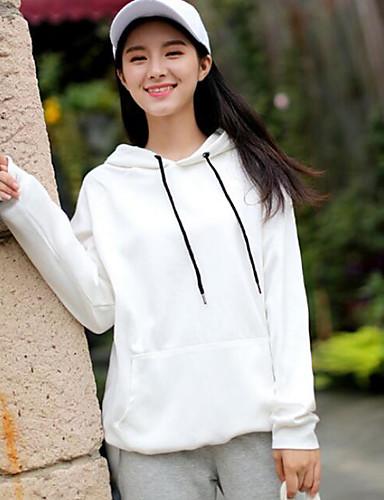 Damen Kapuzenshirt Ausgehen Solide Baumwolle Langarm