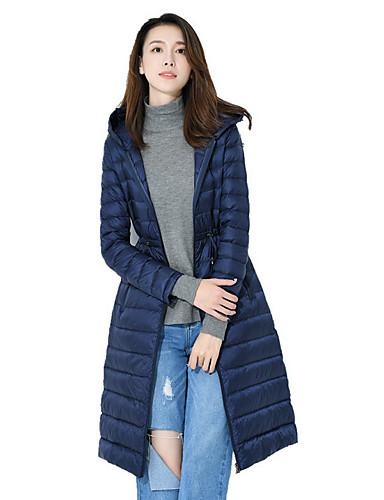 Damen Daunenjacke Mantel,Lang Street Schick Ausgehen Solide-Polyester Langarm
