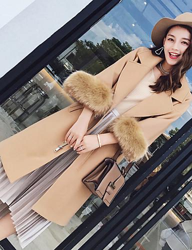 Damen Solide Einfach Freizeit Alltag Arbeit Mantel Winter Lang Acryl Polyester