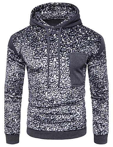 Herren Kapuzenshirt Sport Lässig/Alltäglich Leopard Mikro-elastisch Baumwolle Langarm