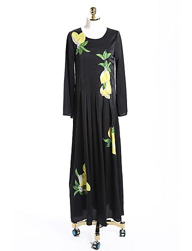 Damen Alltag Swing Knielang Kleid Solide Blumen Rundhalsausschnitt Langarm Hohe Taillenlinie