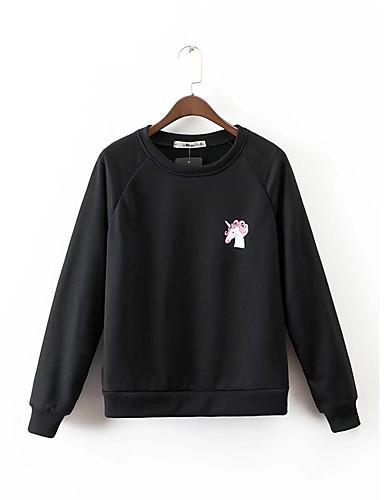 Damen Pullover Lässig/Alltäglich Einfach Solide Druck Mikro-elastisch Baumwolle Andere