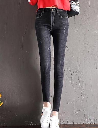 Damen Freizeit Eng / Jeans Hose Solide