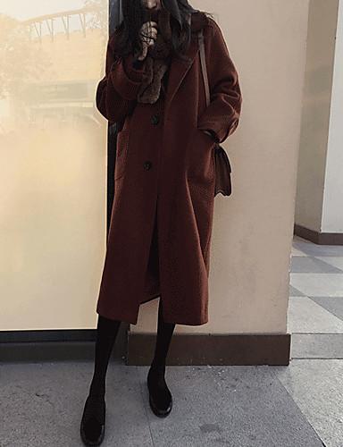 Damen Solide Einfach Freizeit Alltag Ausgehen Mantel,Hemdkragen Winter Langarm Lang Baumwolle Acryl