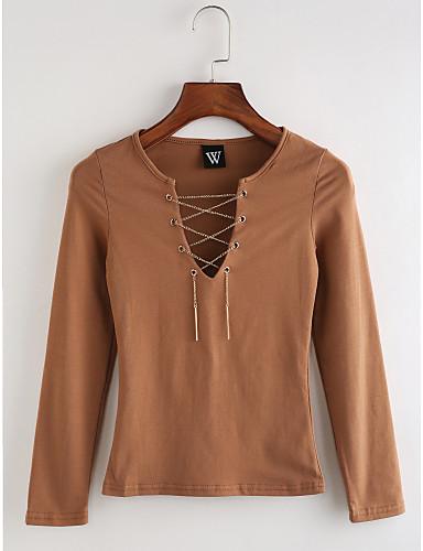Damen Solide Retro Lässig/Alltäglich T-shirt,V-Ausschnitt Langarm Baumwolle Dünn