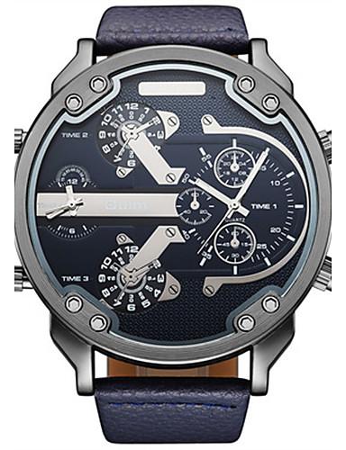 Herrn Armbanduhren für den Alltag Wasserdicht / Thermometer / Kompass Leder Band Freizeit