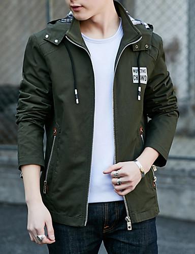 Kurtka Normalny Rozmiar plus Męskie Moda miejska Zima Jesień Codzienny Urlop Stójka Jendolity kolor Modern Style Modne Bawełna