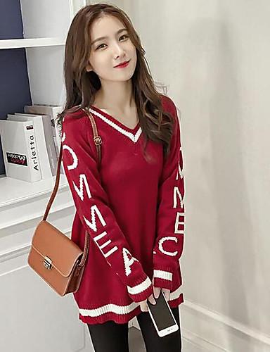 Damen Standard Pullover-Lässig/Alltäglich Druck V-Ausschnitt Langarm Andere Herbst Winter Mittel Mikro-elastisch